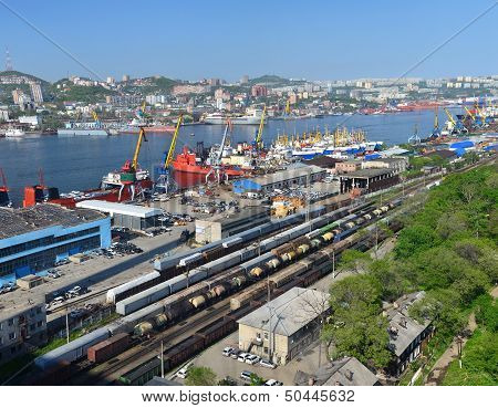 Port Vladivostok, Panorama Of Container Terminal, Russia