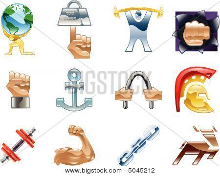Sterkte pictogram Set reeks ontwerpelementen