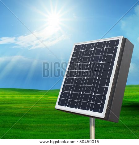 solarcell panel on green
