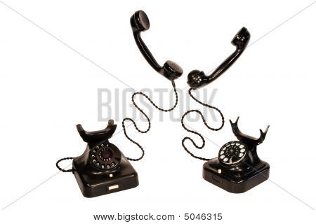 Two Black Vintage Telephones, Isolation On White