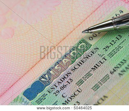 Schengen Multi Visa In Passport With Pen
