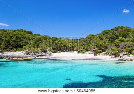 Cala Turqueta beach in sunny day, Menorca island, Spain. poster
