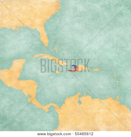 Haiti (Haitian flag) on the map of Caribbean and Central America. The Map is in vintage summer style and sunny mood. The map has a soft grunge and vintage atmosphere which acts as a watercolor painting. poster