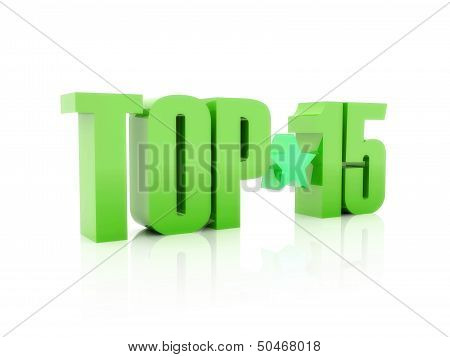 Top fifteen green word isolated on white background. 3D illustration. poster