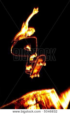 Fiery Skateboarder