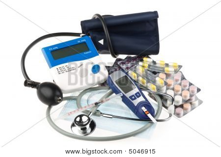 Various Colour Pills And Medical Tools