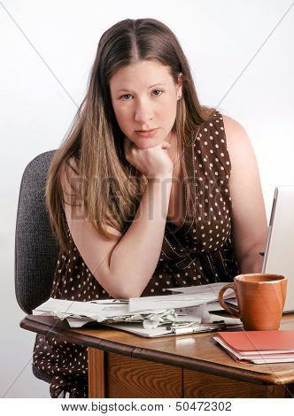Confident Pregnant Woman Paying Bills