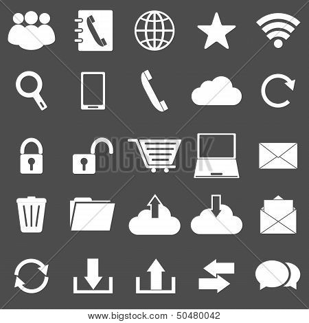 Communication Icons On Gray Background