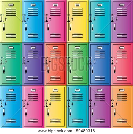 Vector Colorful Metal School Lockers