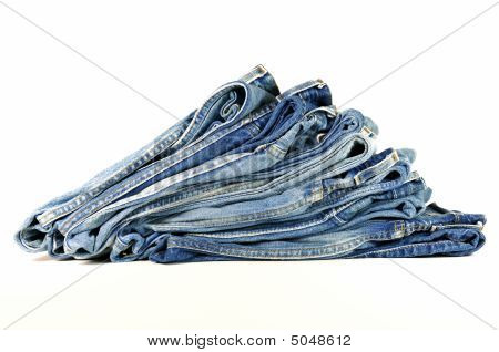 Folded Blue Denim Jeans
