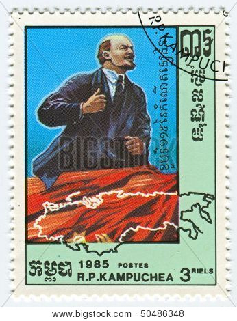 KAMPUCHEA - CIRCA 1985: A stamp printed in Kampuchea shows image of the Vladimir Ilyich Lenin; born Ulyanov, was a Russian communist revolutionary, politician and political theorist, circa 1985.
