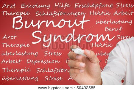 Hand writing different german words about burnout syndrome on red background poster
