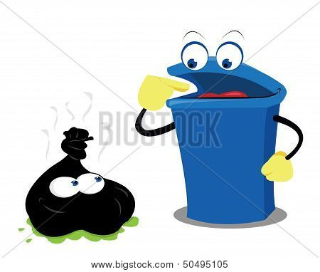 Funny Waste And A Bin