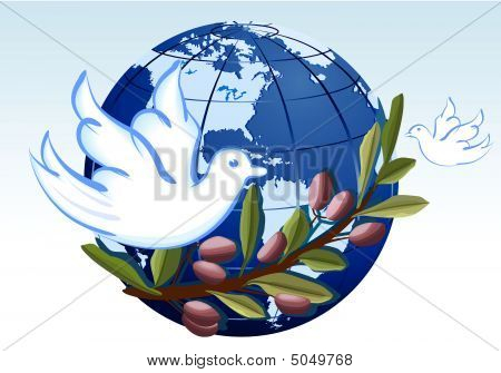 Peace To The Earth With White Doves And Branch Of Olives Tree