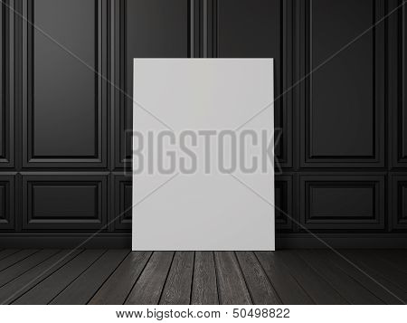 black decorative wall with blank poster