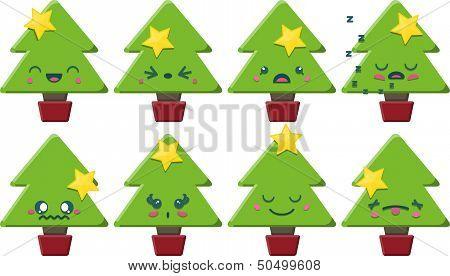 Cartoon Kawaii Christmas Tree Set