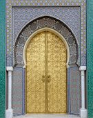 Ancient arabic style doors Morocco North of Africa poster