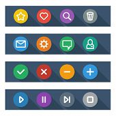 Flat UI design elements - set of basic web icons in colorful circles. Vector illustration. poster