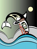 Killer whale diving into the ocean waves in the style of Northwest Coast Native American tribal art. poster