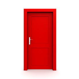 Closed Single Red Door
