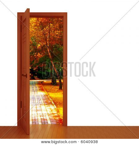 door and beautiful autumn landscape
