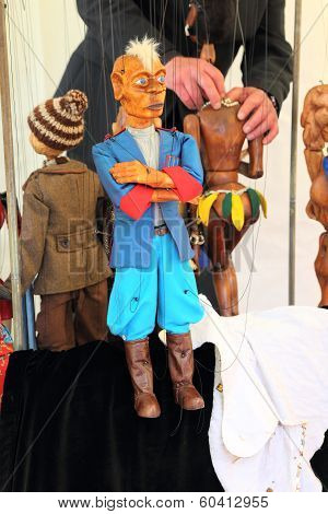 KRASNODAR, RUSSIA - SEPTEMBER 28 - Marionette at the fair, Krasnodar city day on 28, September in Kr