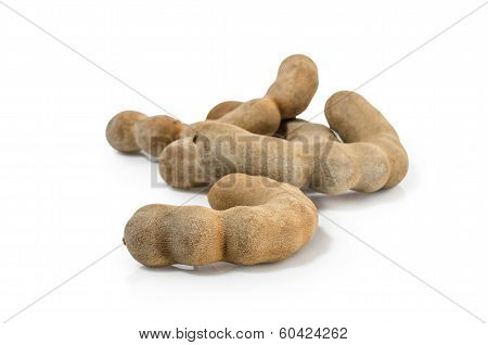 Tamarind isolated on white background Clipping path included