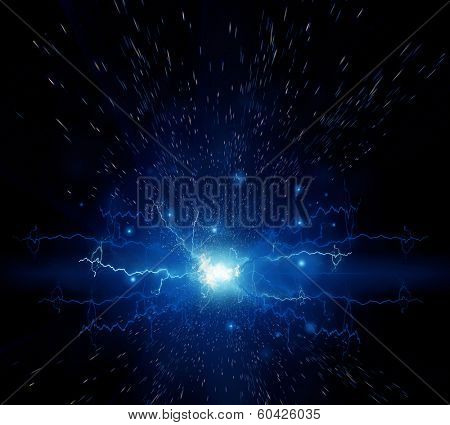Abstract electric effect. Flash on a black background poster