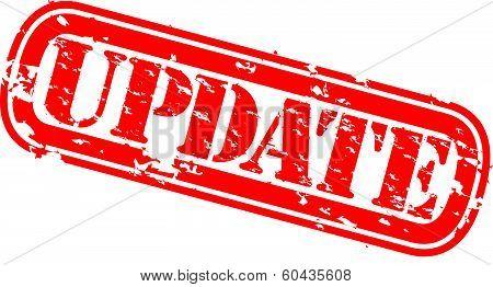 Grunge update rubber stamp, vector illustration