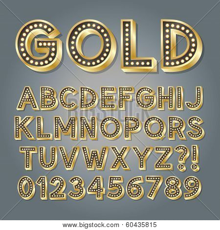 Golden 3D Broadway Alphabet And Numbers, Eps 10 Vector Editable
