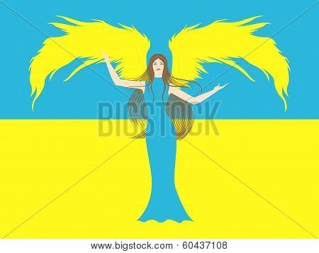 Female Angel Against The Flag Of Ukraine