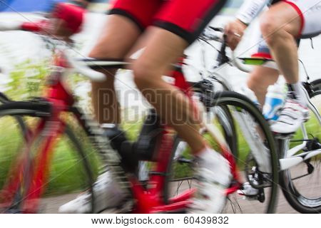 Racing Cyclists At High Speed