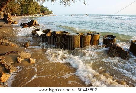 Erosion, Wave Destroy Seawall, Effect Of Climate Change