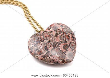 Leopard Skin Jasper Heart With Golden Chain