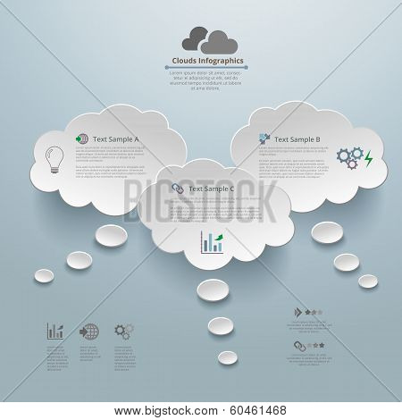 Clouds Thinking Infographic Background