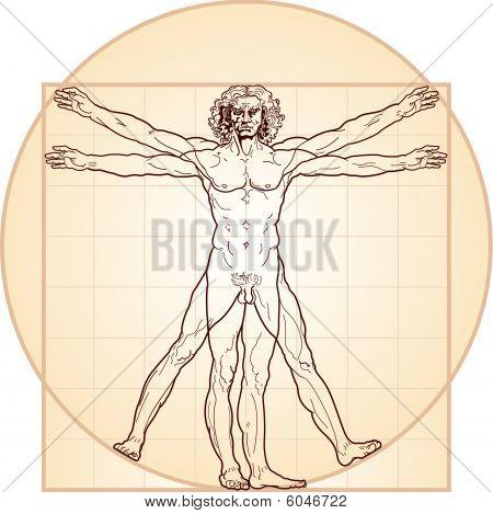 The Vitruvian man, or so called Leonardo's man. Versione in colore.