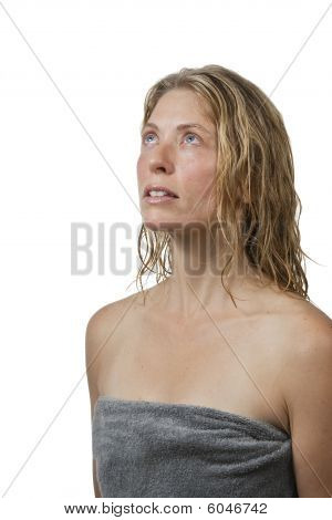 Blond Woman In Spa, Relaxing, Looks Up