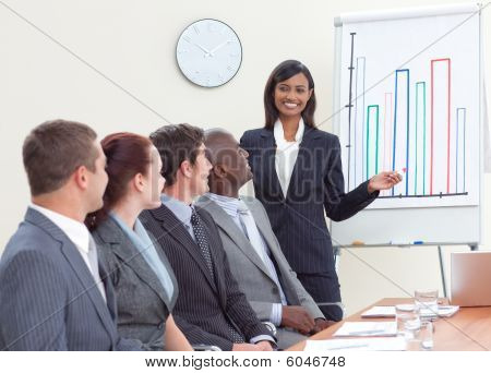 Businesswoman Giving A Presentation To Her Colleagues