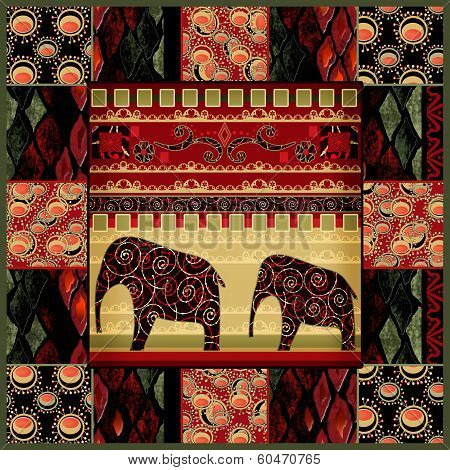 Patchwork seamless snake skin pattern with elephans background poster