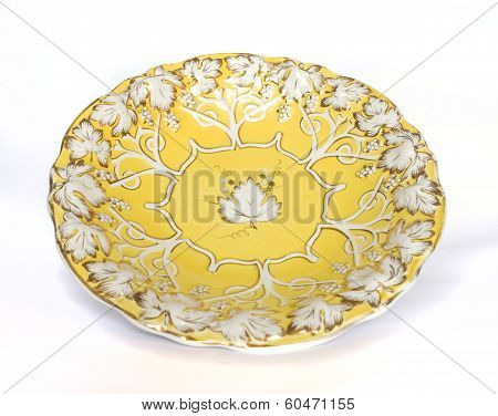 Antique Yellow Gold Porcelain Dish With Grape Pattern