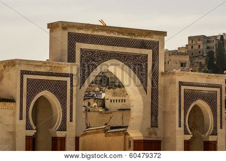 Bab Bou Jeloud gate (The Blue Gate) located at Fez Morocco poster