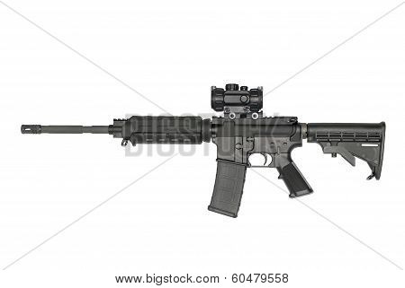 Ar-15 On White With Optic