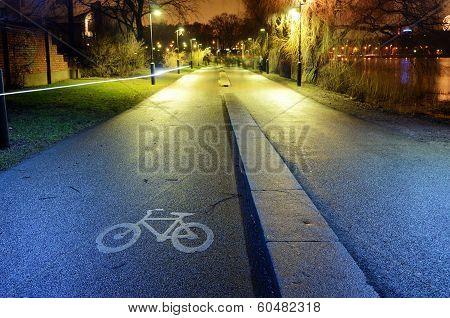 Bike Path In The Park Night City, Helsinki