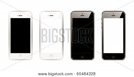 Black and white smart phones.