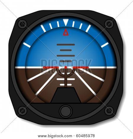 vector aviation airplane attitude indicator - artificial gyroscope horizon