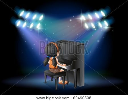Illustration of a stage with a young pianist performing