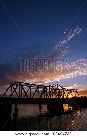 Sunset At Union Point Bridge, California