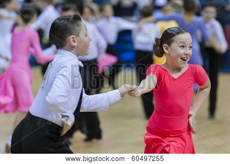 Minsk-belarus, February, 9: Unidentified Dance Couple Performs Juvenile-1 Latin-american Program On