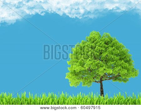 Green environment and tree on blue sky. natural background poster
