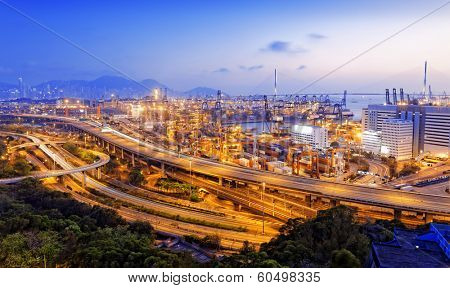 Kwai Tsing Container Terminals and highway in hong kong poster